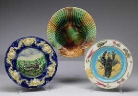 "(3) English Majolica Figural Plates, 8.75""dia"