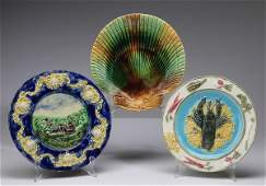3 English majolica figural plates 875dia