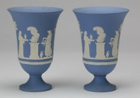 "(2) Wedgewood Jasperware Urns, Marked, 8""h"