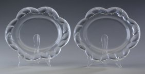 "(2) Lalique Crystal Platters, Marked, 11""long"