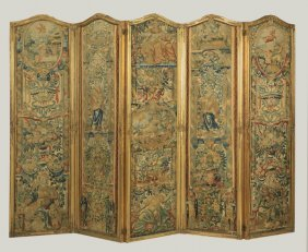 18th C. Five Panel Tapestry Room Divider