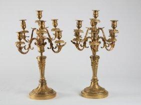 (2) Louis Xv-style Gilt Bronze Candelabra