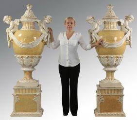 "Monumental Italian Majolica Urns, 74""h"
