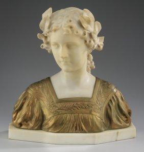 Gv Vaerenbergh Alabaster Bust Of A Maiden