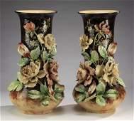2 Oversized French barbotine vases 225h