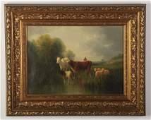 19th c. O/c rural scene, signed Andre Cortes
