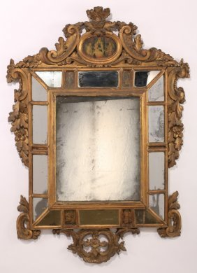 "18th C. Continental Giltwood Mirror, 51""h"