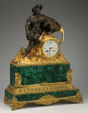 Gilt And Patinated Bronze Clock W/ Malachite