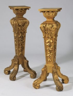 (2) 19th C. French Gilt Wood Stands