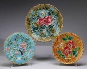 (3) Continental Majolica Plates, 19th C.