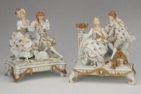(2) Muller German Porcelain Figurines, 19th C
