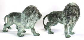 """(2) Patinated Bronze Lions, 31""""h"""