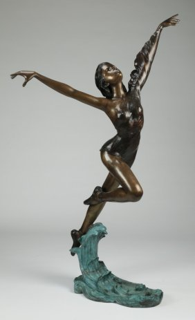 "Patinated Bronze Sculpture Of A Dancer, 76""h"