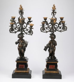 "(2) 19th C.bronze And Marble Candelabra, 32""h"