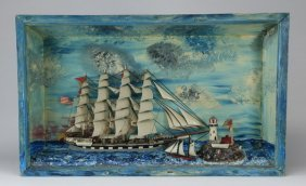 "Folk Art Nautical Diorama Of A Ship, 36""w"