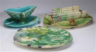 (3) French majolica asparagus serving pieces