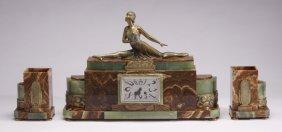 (3) Piece French Art Deco Onyx Clock Set