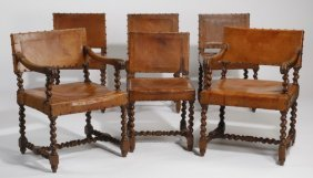 (6) 19th C. Jacobean-style Chairs W/ Leather