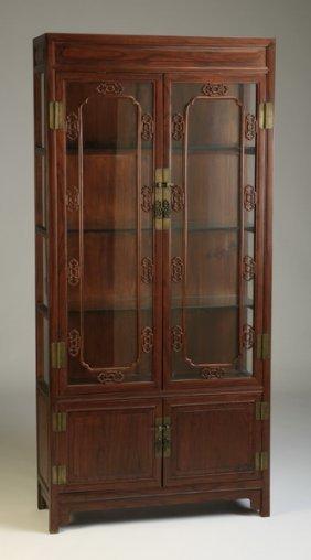 Asian Inspired Mahogany Display Cabinet