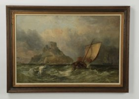 19th C. Maritime O/c, Sailboat In Rocky Seas
