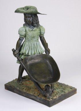 Cast Bronze Sculpture Of A Young Girl