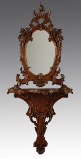 """Venetian Rococo Mirror, Pier Table, 91""""h"""