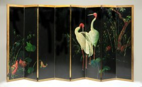 "Oversized Hand Painted Screen, Signed, 144""w"