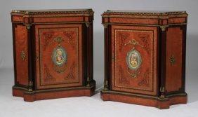 """(2) 19th C. French Inlaid Cabinets, 42""""h"""