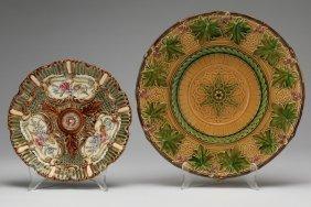 (2) English Majolica Plates