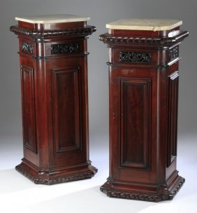"(2) Regency Style Mahogany Pedestals, 42""h"