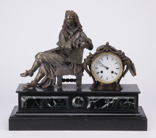 19th c. French bronze, marble mantel clock