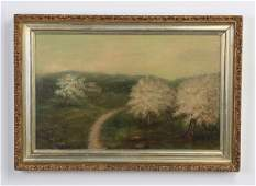 Early 20th c. O/c flowering trees, signed