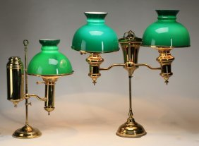 (2) Brass And Glass Student Lamps