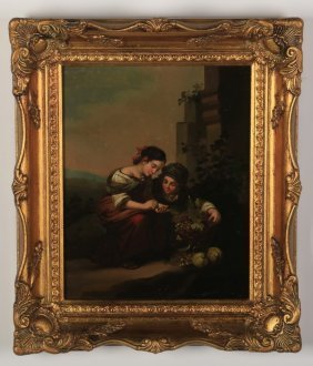 19th C. Continental Oil On Copper Genre Scene
