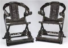 (2) Chinese zitan dragon and cloud chairs