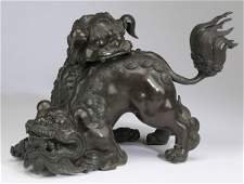 """Chinese bronze double Fu lion censer, 9""""h"""