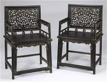 """(2) Chinese carved zitan armchairs, 38""""h"""
