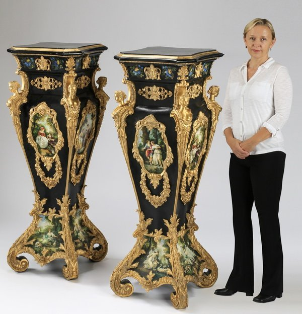 "(2) Gilt and paint decorated pedestals, 50""h"
