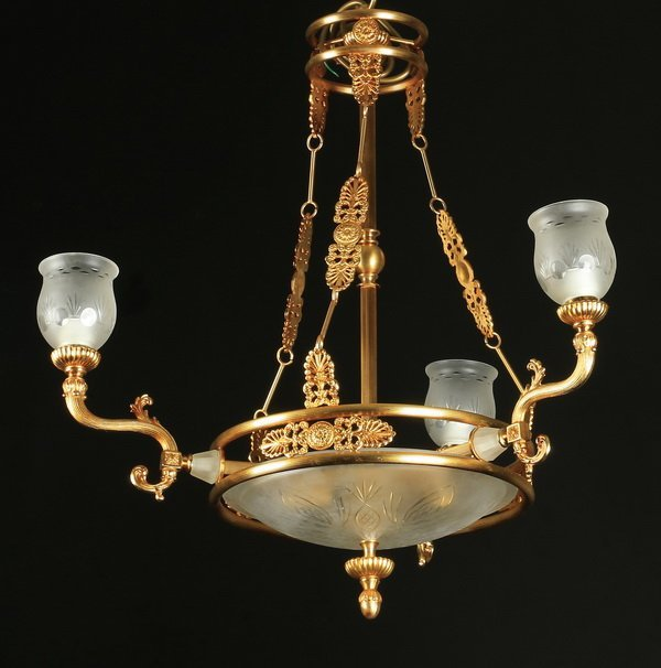 "Empire style 3-arm gilt chandelier, 40""h."