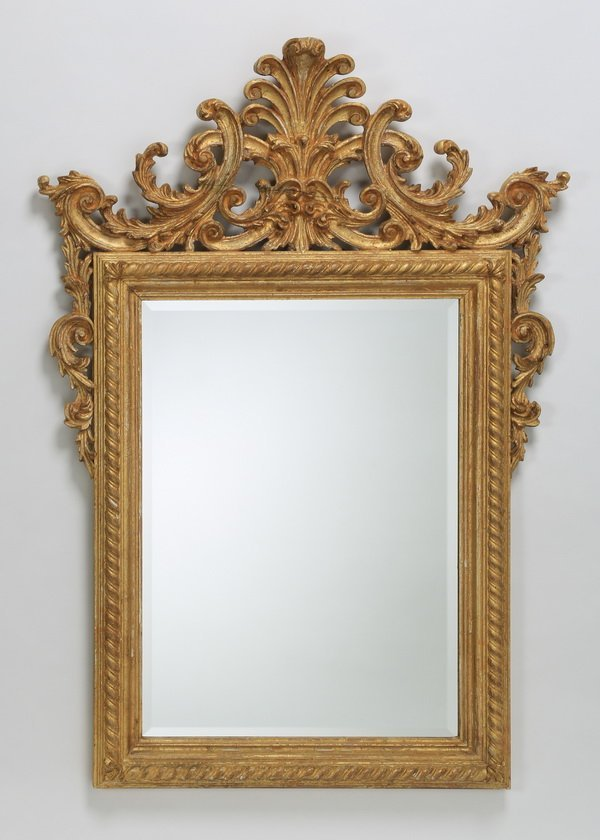 "Italian carved gilt wood beveled mirror, 54""h"