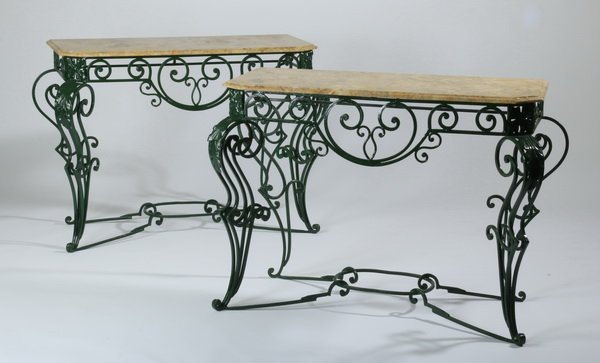 "(2) Wrought iron marble top consoles, 48""w"