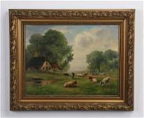 19th c French O/c cows in sunny field, signed