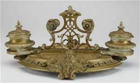 19th c French gilt bronze encrier