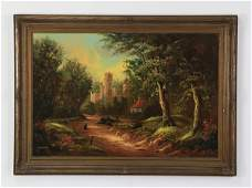 Early 20th c. O/c castle landscape, signed