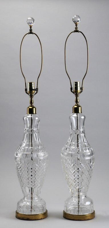 """(2) Waterford crystal Lismore lamps, 37""""h"""