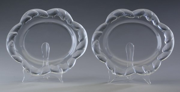 """(2) Lalique crystal platters, marked, 11""""long"""
