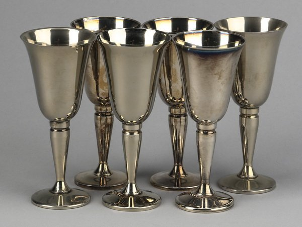 """(6) Spanish silver plate cordials, 4""""h"""