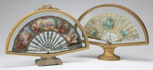 (2) Antique Continental hand painted fans