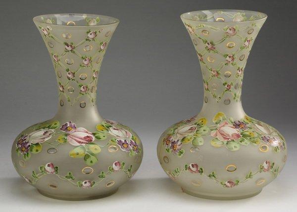 "(2) Enamel decorated glass vases, 12""h"