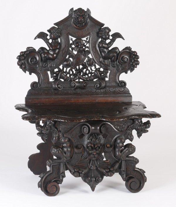19th c. Italian carved walnut bench